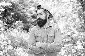 Men Belong Here. Hair Beard Care. Guy In Forest. Summer Camping. Serious Bearded Man. Mature Hipster poster
