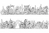 Two Panoramic Elongated Black And White Vector Freehand Drawings With Grassy Vegetation And Symbolic poster