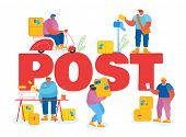 People In Post Office Concept. Postmen Deliver Letters And Parcels Packages To Customers. Mail Deliv poster