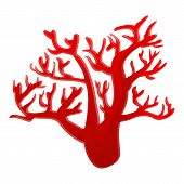Red Marine Coral Icon. Cartoon Of Red Marine Coral Vector Icon For Web Design Isolated On White Back poster