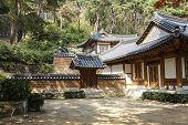 Traditional Korean-style Buildings In Front Of The Entrance To Jeondeungsa Temple In Ganghwa-gun, In poster
