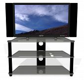 foto of home theater  - image on screen is a photo i took last week clean 3d render of archetypal hdtv - JPG