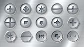 Ealistic Screws. Realistic Attached Nails Bolts And Fasteners On Metal Background. Vector Round Stai poster