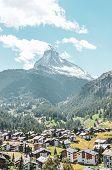 Amazing View Of Beautiful Alpine Village Zermatt In Switzerland In The Summer Season. Famous Matterh poster