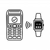 Nfc Payment Vector Outline. Payment By Smart Watch, Smart Watch With Nfc Technology. Contactless Pay poster