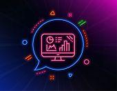 Analytics Graph Line Icon. Neon Laser Lights. Column Chart Sign. Growth Diagram Symbol. Glow Laser S poster