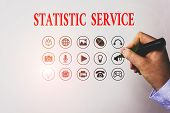Text Sign Showing Statistic Service. Conceptual Photo Economic Statistics Which Detail International poster