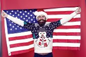 Celebrate American Way. Bearded American Man Celebrate Xmas. Happy Santa Hold American Flag. Season  poster