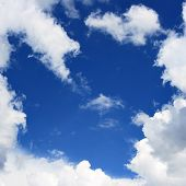 image of deep blue  - Blue sky and frame from clouds may be used as background - JPG