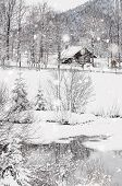 Winter Snowy Bavarian Alpine Landscape With Snow Covered Field, House And Trees. Magic Wintry Scener poster