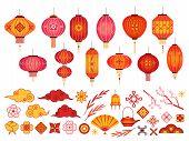 Chinese New Year Elements. Asian Lantern, Japanese Cloud And Sakura Branch. Traditional Korean Flowe poster
