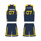 Basketball Jersey, Shorts, Template For Basketball Club. Front And Back View Sport Uniform. poster