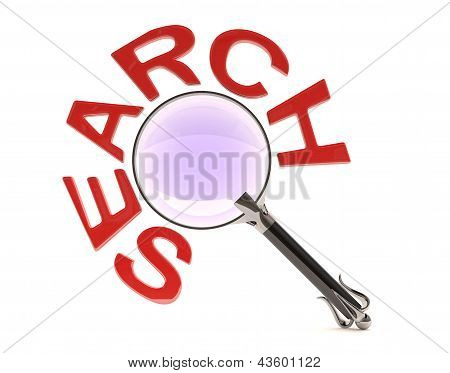 Magnifying  Glass With A Search Word. 3D Model