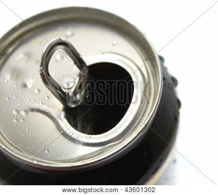 Aluminum can with water drops closeup isolated on white