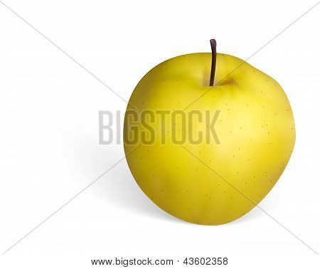 Photorealistic Golden Apple On White Background