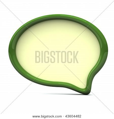 Green speech bubble, 3d