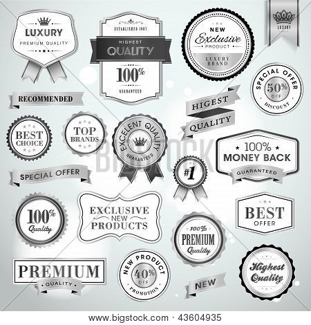 Set luxury silver labels and ribbons