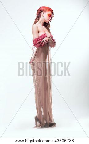 Imagination. Expressive Woman In Transparent Dress. Dreams