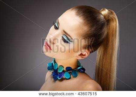 Allure. Profile Of Sensual Woman With Glazed Green - Blue Jewels. Relax