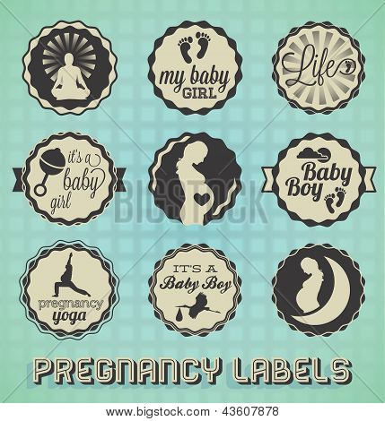 Vector Set: VIntage Pregnancy Labels and Icons