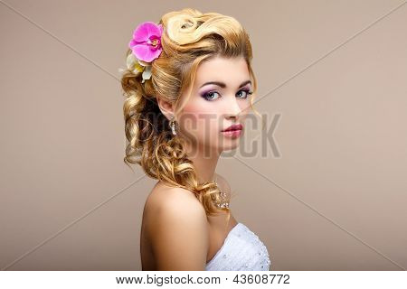 Charm. Portrait Of Elegant Blond Hair Woman Fiancee With Flowers. Womanliness