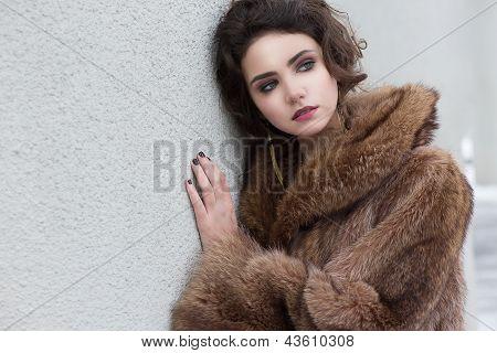 Loneliness. Winter. Beautiful Refined Female In Wool Fur Coat