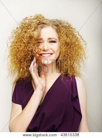 Pleasure. Happy Face Of Frizzy Redhead Woman. Joy
