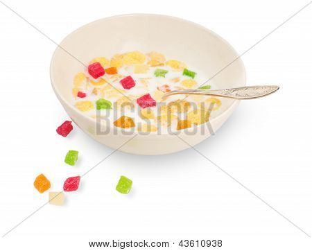 Breakfast Cereal With Milk And Candied Fruit