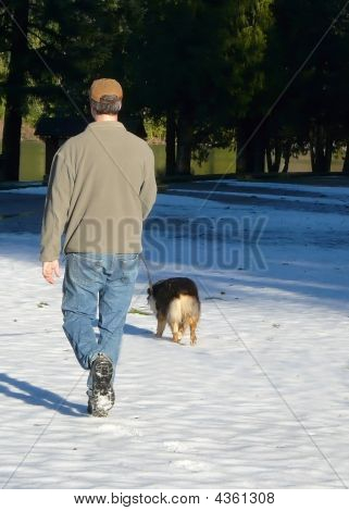 Dog Walk In Winter