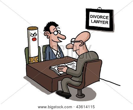 A man is divorcing a cigarette