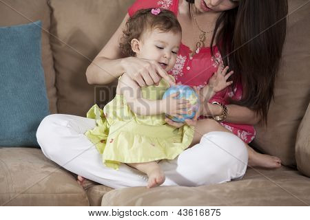 Mom and baby having fun