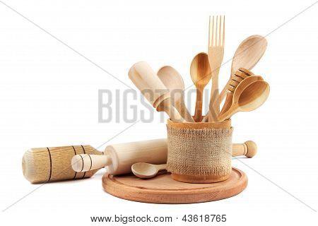 Wooden Kitchen Utensils Isolated On White Background.