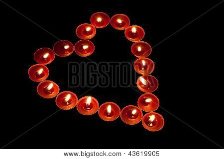 Red Tealights In Heart Shape