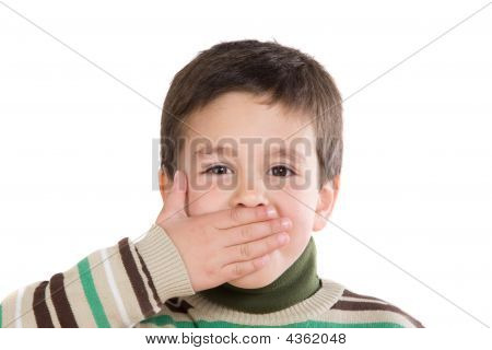 Funny Child Covering His Mouth