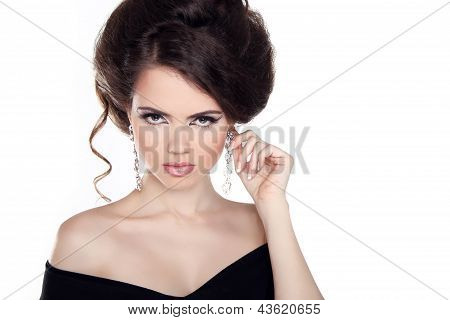 Glamour Portrait Of Beautiful Woman Model With Hairstyle And Make Up Isolated On White Background. J