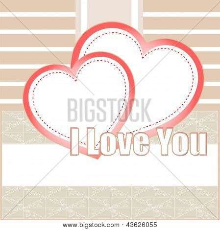 Valentines Cards With Two Hearts And Place For Your Text