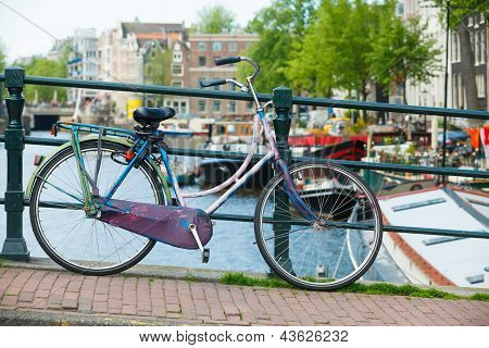 Dutch bicycles on a bridge