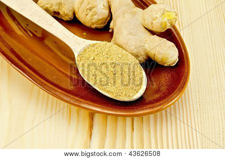 Ginger fresh and dried on a clayware