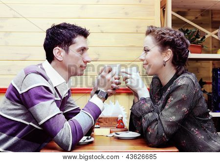 Young Lovers Drinking Coffee Romantic Shot