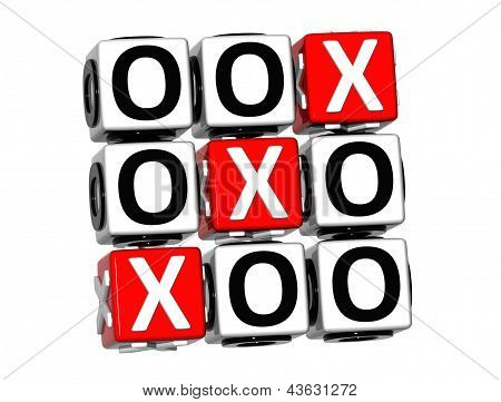 3D Noughts And Crosses Button Click Here Block Text
