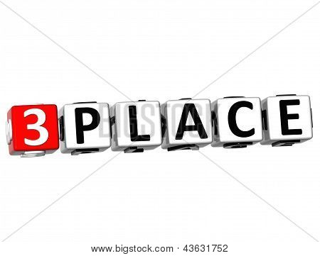 3D Third Place Button Click Here Block Text