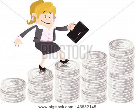 Businesswoman Buddy climbs up the money hill