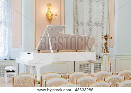 White Grand Piano On Concert Hall With Rows Of Chairs
