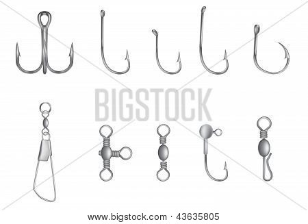 hooks and other fishing equipment vector illustration