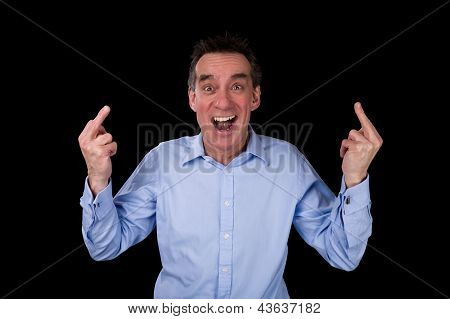 Angry Shouting Business Man Giving One Finger Gesture
