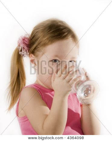 Small Girl Is Drinking The Water