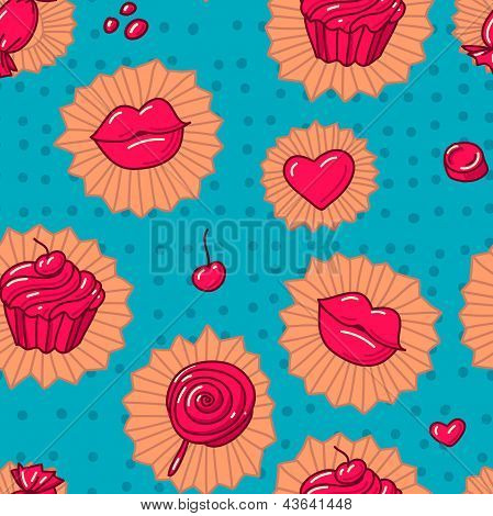 Collection Of Various  Candies From Candy Store. Seamless Pattern