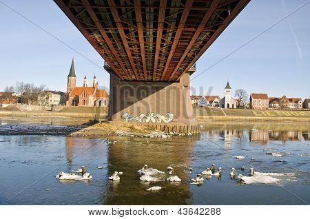 Kaunas City And  Bridge On Nemunas Riverin Spring