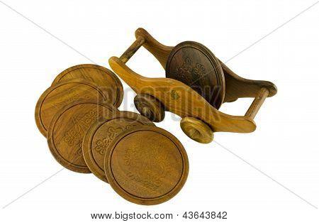 Wooden Pallet Holder On Casters Side Five Coaster