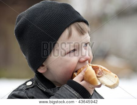 Enjoying A Hotdog